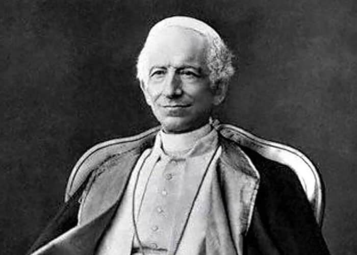 Pope Leo XIII, who condemned classical socialism for violating private property; how much this condemnation applies to democratic socialism is up for discussion