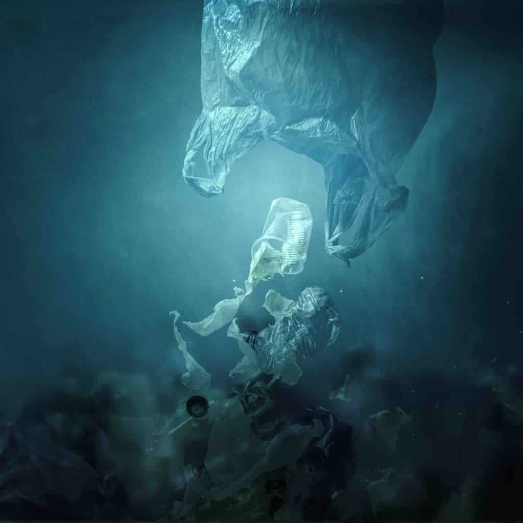 Plastic bags float in the ocean, symbolizing the pollution of the environment crisis